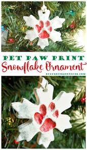 pet paw print snowflake ornament diy craft christmas pet cat dog