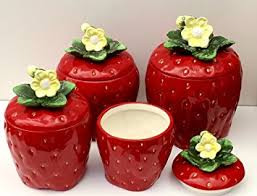 4 Piece Kitchen Canister Sets by Amazon Com 3 D Strawberry 4 Piece Canisters Set 83501 Kitchen
