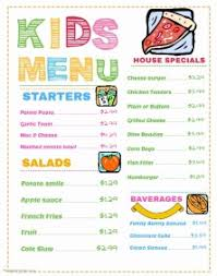 customizable menu templates customizable design templates for children s menu postermywall