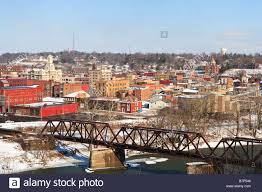 Zanesville Ohio Map by Scenic View Of Zanesville Ohio With Railroad Bridge Stock Photo