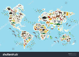 Continents And Oceans Map Cartoon Animal World Map Children Kids Stock Vector 294122129