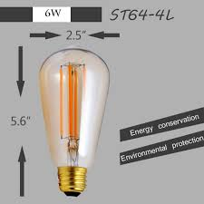 vintage dimmable led filament bulb st64 edison style 4w 2200k