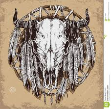 hand drawn vector illustration of bull skull with feathers stock