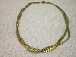 vintage silver choker necklace images Avon gold silver vintage quot avon quot gold silver herringbone braided jpg