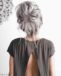 45 Silver Hair Color Ideas For Grey Hairstyles Messy Buns
