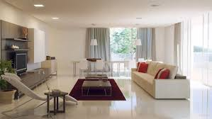 living room red and white