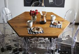 hexagon shaped kitchen table diy honeycomb table with industrial pipe legs a beautiful mess