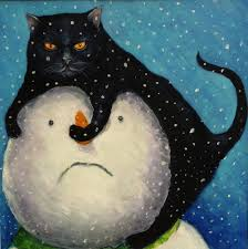 vw snowman 1 x grumpy cat and snowman christmas card from painting by