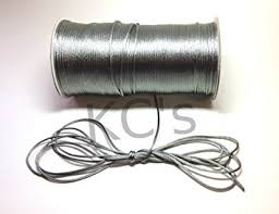 rattail cord 50 yards 2mm silver grey satin rattail cord