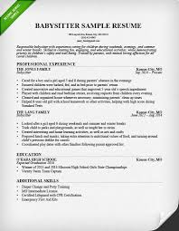 babysitting resume template resume exle writing guide resume genius
