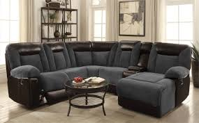 Two Tone Reclining Sofa Sofas Cybele Plush Two Tone Sectional Sofa