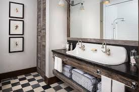 Country Floor Country Style Bathroom With Black And White Checkered Floor