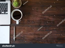 Office Desk Top View Wood Office Desk Table Laptop Cup Stock Photo 363301127 Shutterstock
