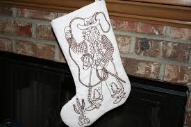 cowboy santa embroidered christmas stocking craft projects
