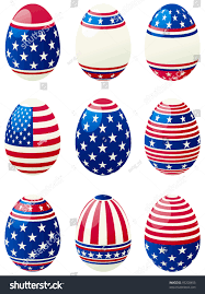 Flag With Cross And Stripes Easter Eggs American Flag Set Easter Stock Vector 95200453