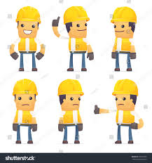 contractor set contractor character different interactive poses stock vector