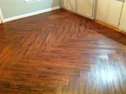 cherry vinyl plank flooring with zig zag pattern for small