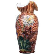 Victorian Glass Vase English Victorian Art Glass Vase With Enameled Flowers By Stevens