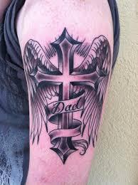 script cross and wings by skyler drago tattoos