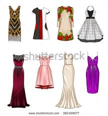 set fashion flat templates sketches woman stock illustration