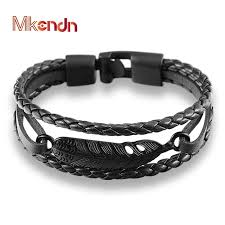 anchor bracelet women images Mkendn fashion multilayer charm leather vintage feather arrow jpg