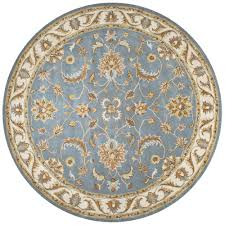 Rizzy Home Rugs Rizzy Home Volare Grey Border Hand Tufted Wool 8 Ft X 8 Ft Round