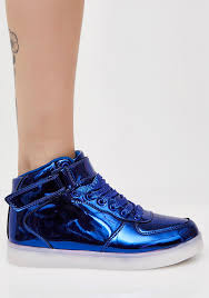 light up sneakers metallic blue light up sneakers dolls kill