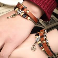 leather bracelet price images Retro fashion leather belt and beads lovers bracelet price for a jpg