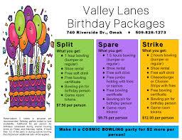 party packages u2013 omak valley lanes
