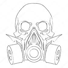vector punk steampunk lineart skull with gas mask u2014 stock vector