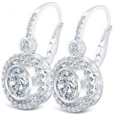 leverback diamond earrings 3 50 carat g si1 diamond leverback hanging drop earrings 18k