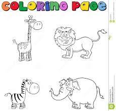 jungle animals coloring page stock images image 31620934