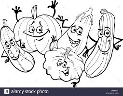 black and white cartoon illustration of funny cucurbits vegetables