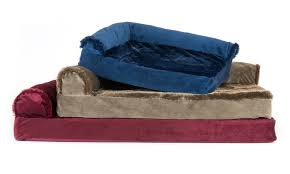 Pet Chaise Two Tone Faux Fur And Suede Chaise Lounge Orthopedic Pet Beds