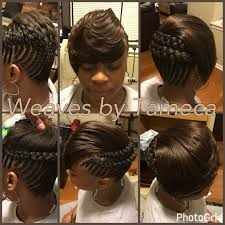 feed in braids feathered bang bob look french braids quick
