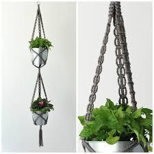 double plant hanger double hanging planter dark grey macrame