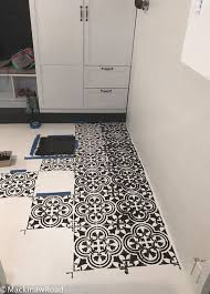 Tile On Concrete Basement Floor by A Basement Floor Makeover Using A Tile Stencil Stencil Stories