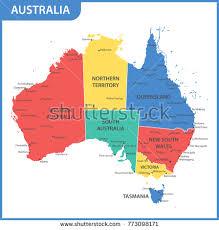 states australia map australia map stock vector 252920350