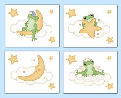 Frog Nursery Decor Frog Print Neutral Baby Nursery Moon Wall Decor Boy