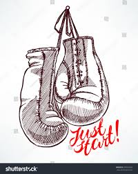 just start sketch boxing gloves handdrawn stock vector 376010593