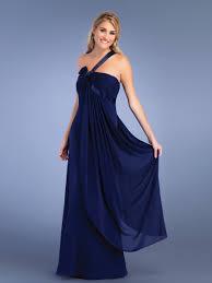 elegant dark royal blue chiffon beaded one shoulder neckline