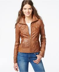 brown leather motorcycle jacket guess leather motorcycle jacket in brown lyst