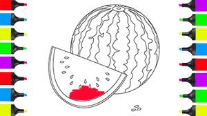 how to draw watermelon coloring pages for kids fruits learning