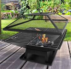 Square Firepit Square Pit Bbq Grill Outdoor Garden Firepit Brazier Stove