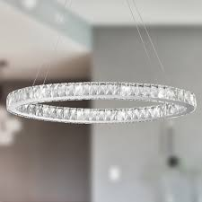 Ring Chandelier Galaxy 14 Led Light Chrome Finish And Clear Oval Ring