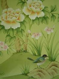 chinoiserie wallpaper with birds hand painted wallpaper