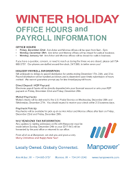 winter office hours and payroll information manpowermi