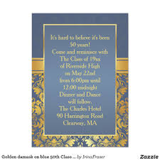 50th high school class reunion invitation golden damask on blue 50th class reunion invite 4 5 x 6 25