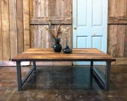 Wood And Metal Coffee Table Coffee Table Etsy