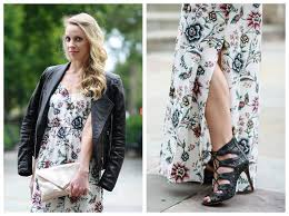 edgy floral maxi dress moto jacket u0026 lace up booties